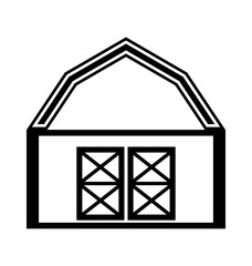 Barn house icon or sign isolated on white background.