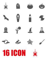 Vector grey halloween icon set
