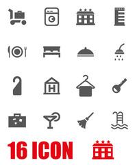 Vector grey hotel icon set
