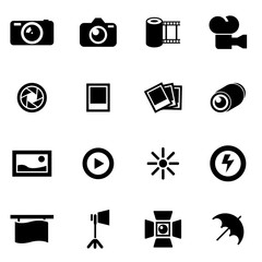 Vector black photo icon set