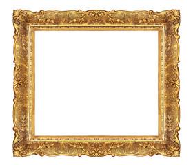 Golden elegant frame isolated on white background.