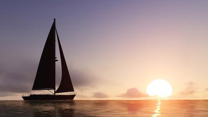 sailboat and sunset Wall mural