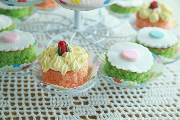Homemade cupcakes on cake stand