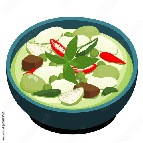 Green Chicken Curry Popular Thai Food Vector Stock Image And
