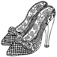 Hand drawn Zentangle Shoes. Use for for cards, wallpapers, pattern fills, web pages elements and etc.
