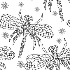 Hand drawn Zentangle seamless pattern with Dragonflies. Use for cards, invitation, wallpapers, pattern fills, web pages elements and etc.