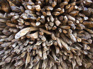 The pile of firewood were taken close up and fill the whole picture. The picture can be use as  wall paper or background image as the beauty texture and composition are good looking..