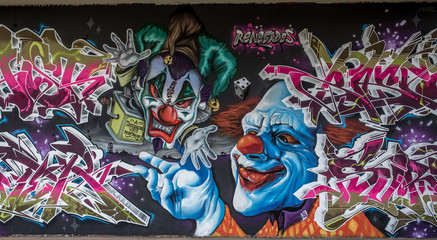 Graffiti Clown in Mainz Kastel