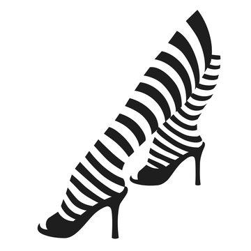 Female legs in striped stockings