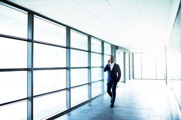 Business on Phone While Walking Inside a Building