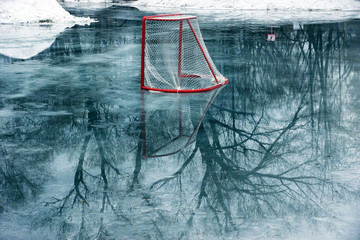 hockey gates on melting ice