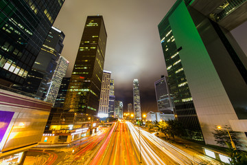 Fotomurales - Hong Kong Business District at Night with Light Track