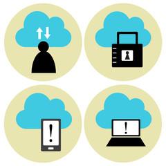 Cloud technology vector icons set