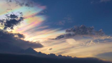 Beam rainbow color on sky