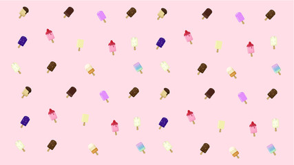 Tasty Ice cream Pink Background Vector