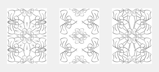 Set of Lineart Seamless Pattern. Vector illustration.