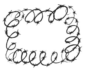 doodle grunge frame barbed wire