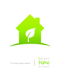 Green home logo concept with leaf inside