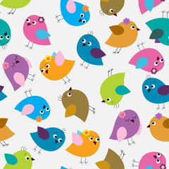 Seamless pattern with bright cute birds