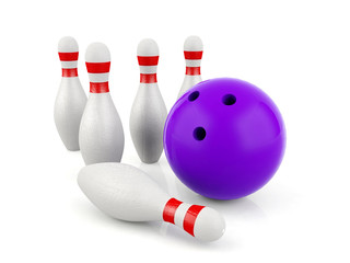 3D bowling and bowling pins