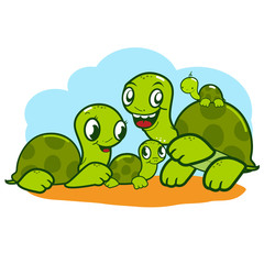 Cute turtle family. A happy family of turtles