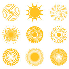 Sun icon set. Abstract and unusual sun icons. Vector illustration.