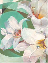 Pretty white lily flower on green background. Hand painting illustration. Interior decor.