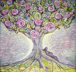 Tree of Life acrylic painting. Spring painting. Illustration of an expectant mother. Canvas. Interior decor.