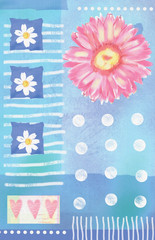 Postcard with pink watercolor gerbera and hearts. Floral background. Beautiful spring pink flower. Can be used for textile, for wallpaper, pattern fills, web page background. Love floral composition.