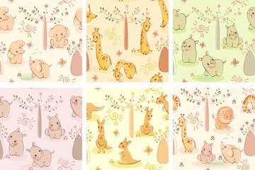 Set wallpaper wild animals.