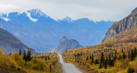 The Glenn Highway in Alaska looking west towards Lions Head and the Chugach Mountains