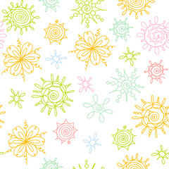 Vector hand drawn doodle floral pattern. Seamless background.