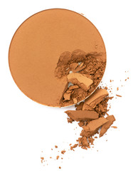 Face make up powder cracked  in round shape container