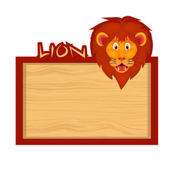 Wood board banner with lion