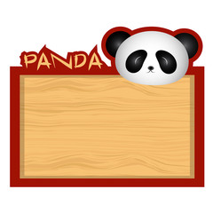 Wood board banner with panda