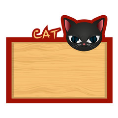 Wood board banner with cat