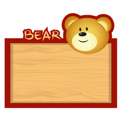 Wood board banner with bear