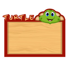 Wood board banner with turtle