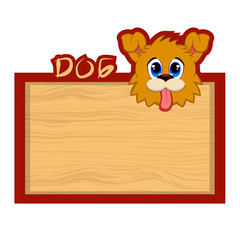 Wood board banner with dog