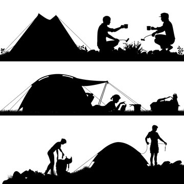 Camping foreground silhouettes