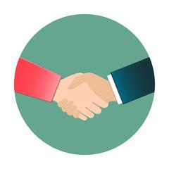 Businesswoman and businessman shaking hands. Handshake icon in flat design.