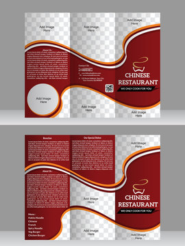 tri fold restaurant brochure design template