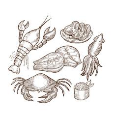 set of sea food