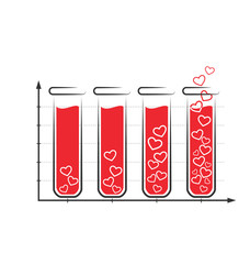 Fun love infographic icon with tubes of blood isolated on white