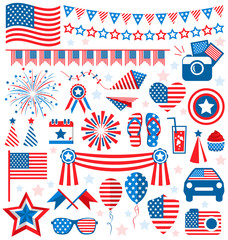 USA celebration flat national symbols set for independence day i