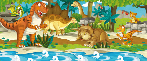 Cartoon dinosaur land - illustration for the children