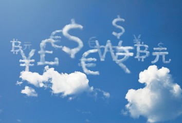 Currency cloud symbol such as dollar, euro, pound are floating on sky