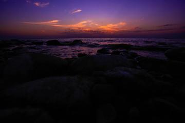 Amazing twilight on the pebble beach
