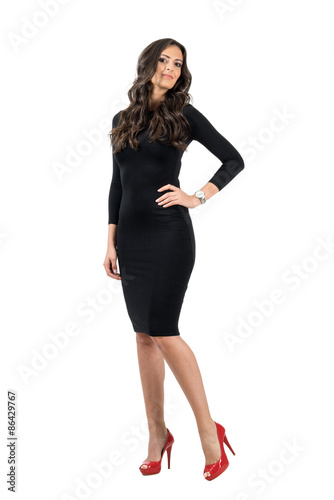 Classy Attractive Woman In Black Dress And Red Shoes Isolated Stock