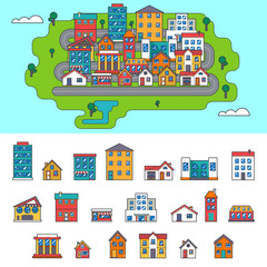 Real Estate City Building House Street Flat Icons Set Isolated